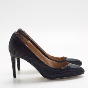 """Ann Taylor Black Textured Round Toe 3.25"""" Heels"""